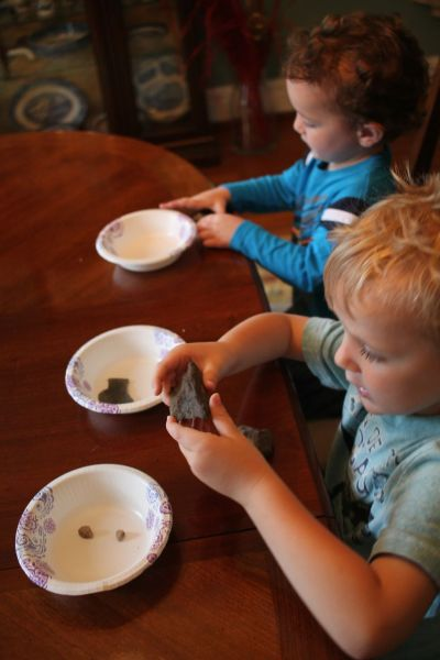 2 preschool boys sorting rocks into bowls